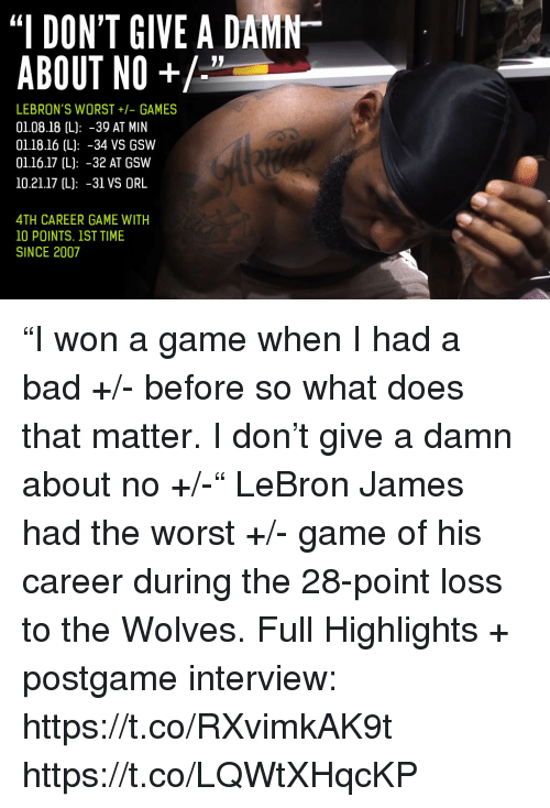 I Dont Give A Damn About No Lebrons Worst Games 010818 L 39 At