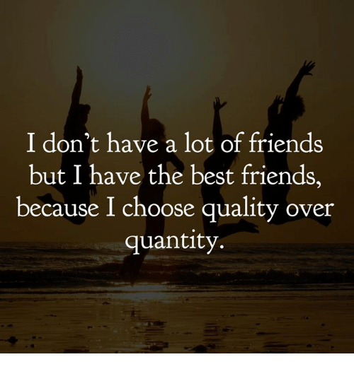 Friends, Memes, and Best: I don't have a lot of friends  but I have the best friends,  because I choose quality over  quantity