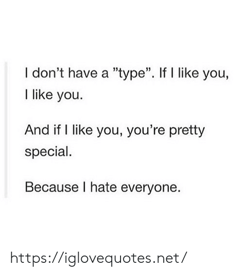 "Net, You, and Href: I don't have a ""type"". If l like you,  I like you  35  And if I like you, you're pretty  special.  Because I hate everyone. https://iglovequotes.net/"