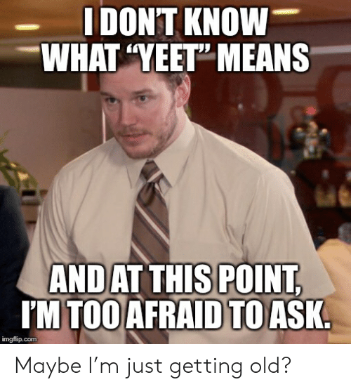 """Old, Advice Animals, and Ask: I DON'T KNOW  WHAT """"YEET"""" MEANS  ANDAT THIS POINT,  IM TOO AFRAID TO ASK.  imgflip.com Maybe I'm just getting old?"""