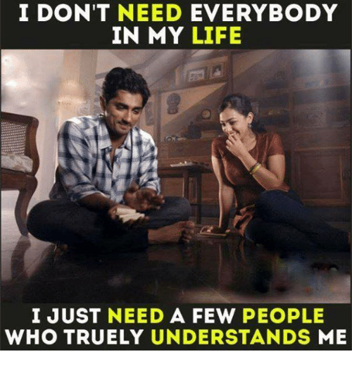 Life, Memes, and 🤖: I DON'T NEED  EVERYBODY  IN MY LIFE  I JUST NEED  A FEW  PEOPLE  WHO TRUELY UNDERSTANDS  ME