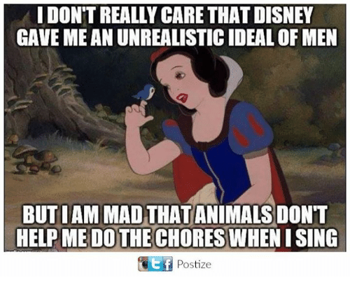 Animals, Disney, and Memes: I DON'T REALLY CARE THAT DISNEY  GAVE ME AN UNREALISTIC IDEAL OF MEN  BUTIAMMAD THAT ANIMALS DONT  HELP DO THE CHORES  Ef Postize