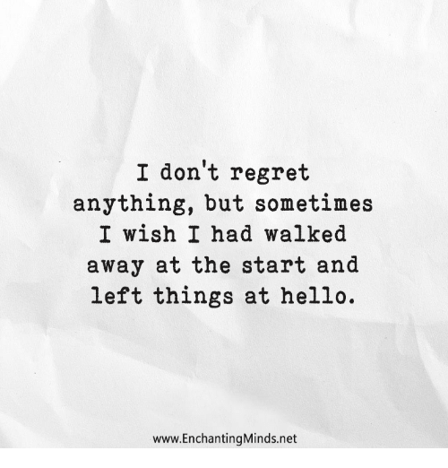 Don T Regret Anything In Life Quotes: I Don't Regret Anything But Sometimes I Wish I Had Walked