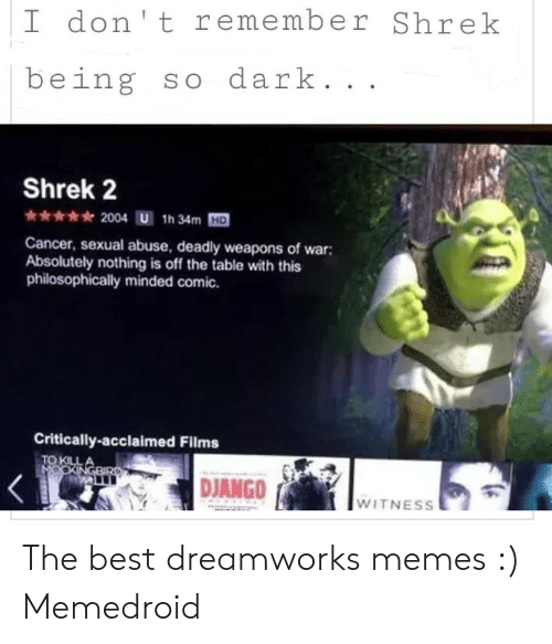 I Don T Remember Shrek Being So Dark Shrek 2 2004 U 1h 34m Hd Cancer Sexual Abuse Deadly Weapons Of War Absolutely Nothing Is Off The Table With This Philosophically Minded Comic