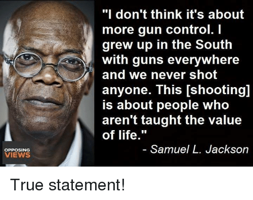 "Guns, Life, and Memes: ""I don't think it's about  more gun control. I  grew up in the South  with guns everywhere  and we never shot  anyone. This [shooting]  is about people who  aren't taught the value  of life.""  OPPOSING  VIEWS  Samuel L. Jackson True statement!"