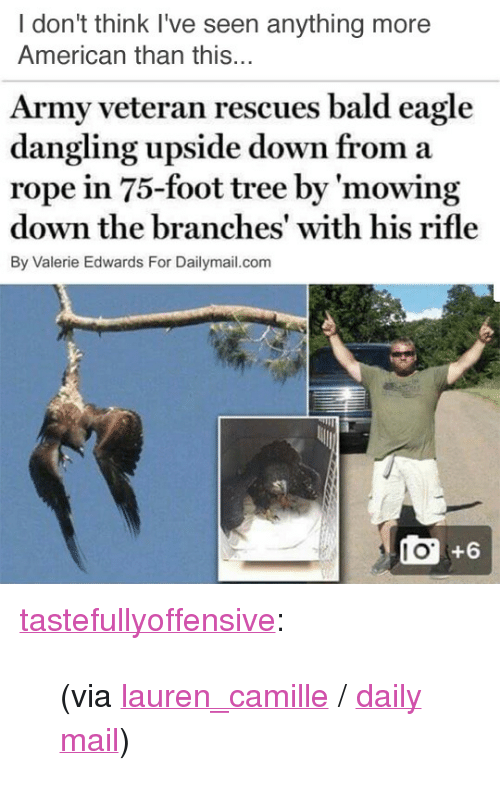 "News, Reddit, and Target: I don't think I've seen anything more  American than this...  Army veteran rescues bald eagle  dangling upside down from a  rope in 75-foot tree by 'mowing  down the branches' with his rifle  By Valerie Edwards For Dailymail.com  10 +6 <p><a class=""tumblr_blog"" href=""http://tastefullyoffensive.tumblr.com/post/146903419158"" target=""_blank"">tastefullyoffensive</a>:</p> <blockquote> <p>(via <a href=""https://www.reddit.com/user/lauren_camille"" target=""_blank"">lauren_camille</a> / <a href=""http://www.dailymail.co.uk/news/article-3671801/Army-veteran-rescues-bald-eagle-dangling-upside-rope-75-foot-tree.html"" target=""_blank"">daily mail</a>)</p> </blockquote>"