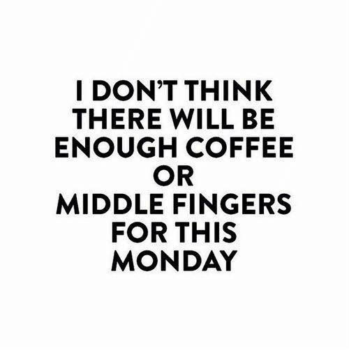 Dank, Coffee, and Monday: I DON'T THINK  THERE WILL BE  ENOUGH COFFEE  OR  MIDDLE FINGERS  FOR THIS  MONDAY