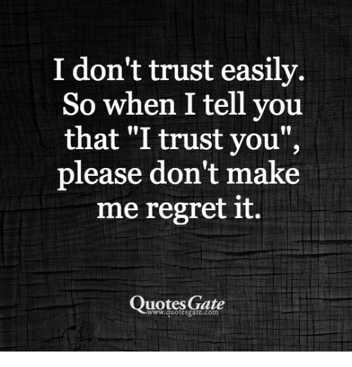 i want to trust you