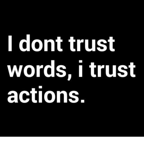Memes, 🤖, and Words: I dont trust  words, I trust  actions.
