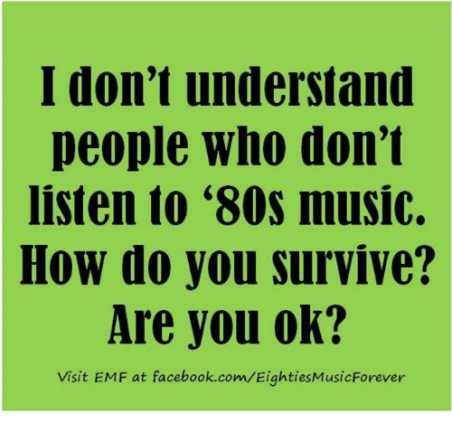 80s, Facebook, and Memes: I don't understand  people who don't  listen to '80s music.  How do you survive?  Are you ok?  Visit EMF at facebook.com/EightiesMusicForever