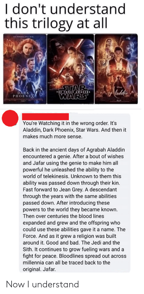 Agrabah, Aladdin, and All Star: I don't understand  this trilogy at all  STAR  OCE AVARIS  Cadlin  DA RK  PHOENI  WARS  You're Watching it in the wrong order. It's  Aladdin, Dark Phoenix, Star Wars. And then it  makes much more sense.  Back in the ancient days of Agrabah Aladdin  encountered a genie. After a bout of wishes  and Jafar using the genie to make him all  powerful he unleashed the ability to the  world of telekinesis. Unknown to them this  ability was passed down through their kin.  Fast forward to Jean Grey. A descendant  through the years with the same abilities  passed down. After introducing these  powers to the world they became known.  Then over centuries the blood lines  expanded and grew and the offspring who  could use these abilities gave it a name. The  Force. And as it grew a religion was built  around it. Good and bad. The Jedi and the  Sith. It continues to grow fueling wars and a  fight for peace. Bloodlines spread out across  millennia can all be traced back to the  original. Jafar. Now I understand