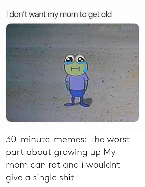 Growing Up, Memes, and Shit: I don't want my mom to get old 30-minute-memes:  The worst part about growing up  My mom can rot and i wouldnt give a single shit