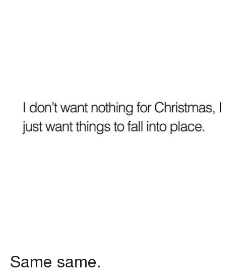 I Dont Want Nothing For Christmas I Just Want Things To Fall Into