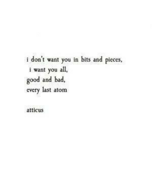 Bad, Good, and Atom: i don't want you in bits and pieces,  i want you all  good and bad,  every last atom  atticus