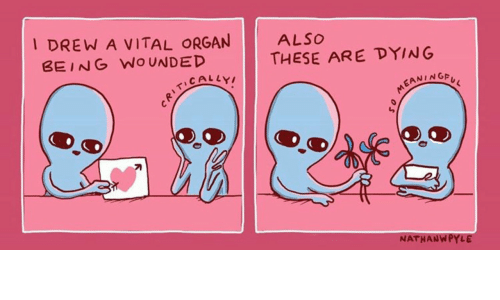 Organ, Dying, and Vital: I DREW A VITAL ORGAN  BEING WOUNDED  ALSO  THESE ARE DYING  EANINGA  刁  NATHANWPYLE