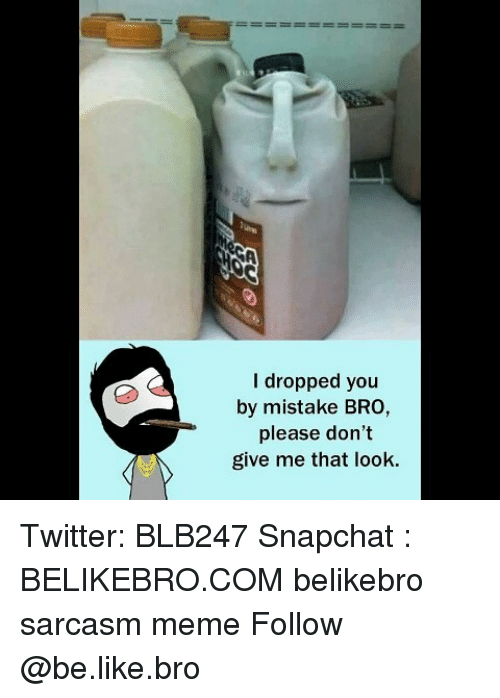 Be Like, Meme, and Memes: I dropped you  by mistake BRO,  please don't  give me that look. Twitter: BLB247 Snapchat : BELIKEBRO.COM belikebro sarcasm meme Follow @be.like.bro