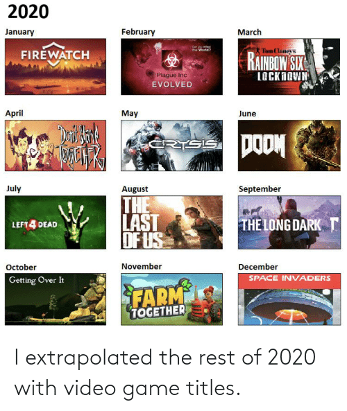 I Extrapolated The Rest Of 2020 With Video Game Titles Game Meme
