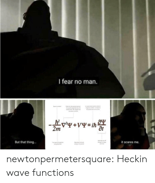 Tumblr, Blog, and Fear: I fear no man.  Ot  But that thing.  it scares me. newtonpermetersquare:  Heckin wave functions