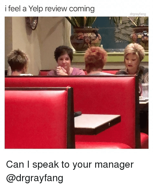 Funny, Yelp, and Girl Memes: i feel a Yelp review coming  drgrayfang Can I speak to your manager @drgrayfang