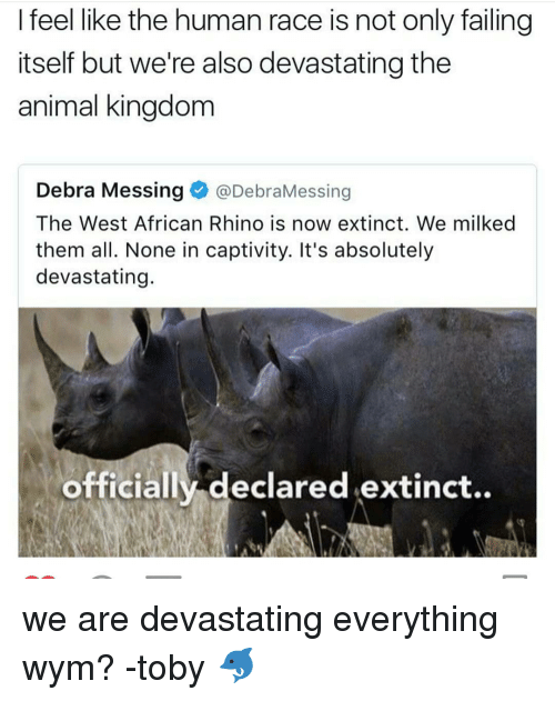 Memes, Race, and 🤖: I feel like the human race is not only failing  itself but we're also devastating the  animal kingdom  Debra Messing  @DebraMessing  The West African Rhino is now extinct. We milked  them all. None in captivity. It's absolutely  devastating.  officially declared extinct.. we are devastating everything wym? -toby 🐬