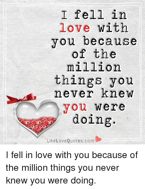 i fell in love with you because of the million things you never knew