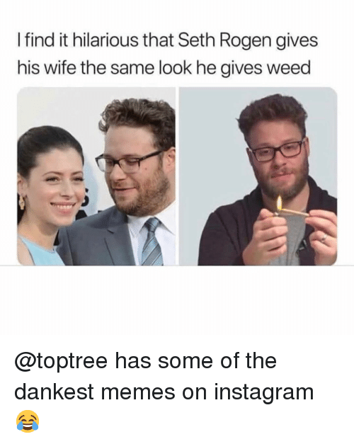 Instagram, Memes, and Seth Rogen: I find it hilarious that Seth Rogen gives  his wife the same look he gives weed @toptree has some of the dankest memes on instagram 😂