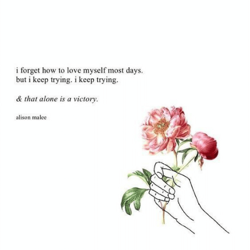 Being Alone, Love, and How To: i forget how to love myself most days.  but i keep trying. i keep trying  & that alone is a victory  alison malec
