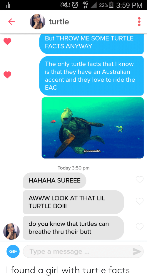 Facts, Girl, and Turtle: I found a girl with turtle facts