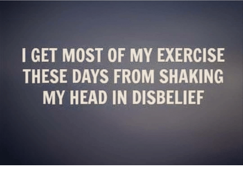 I GET MOST OF MY EXERCISE THESE DAYS FROM SHAKING MY HEAD IN ...