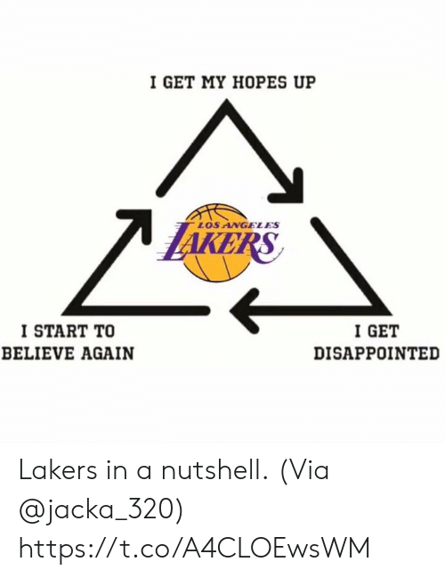 Disappointed, Los Angeles Lakers, and Los Angeles: I GET MY HOPES UP  LOS ANGELES  KE  I START TO  BELIEVE AGAIN  I GET  DISAPPOINTED Lakers in a nutshell.  (Via @jacka_320) https://t.co/A4CLOEwsWM