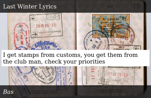 I Get Stamps From Customs You Get Them From the Club Man