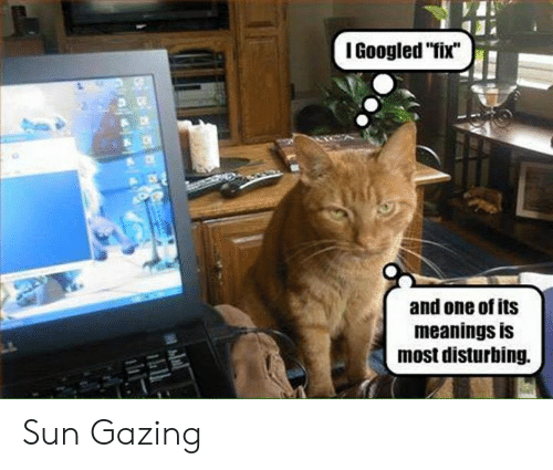 """Memes, 🤖, and Sun: I Googled """"fix""""  and one of its  meanings is  most disturbing. Sun Gazing"""