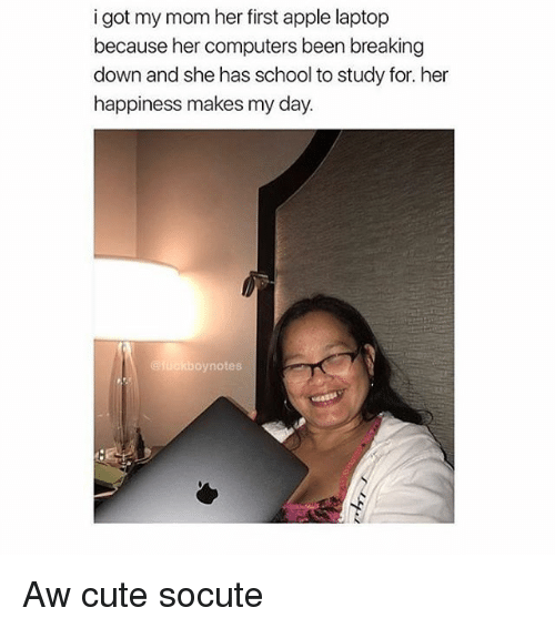 Apple, Computers, and Cute: i got my mom her first apple laptop  because her computers been breaking  down and she has school to study for. her  happiness makes my day.  oynotes Aw cute socute