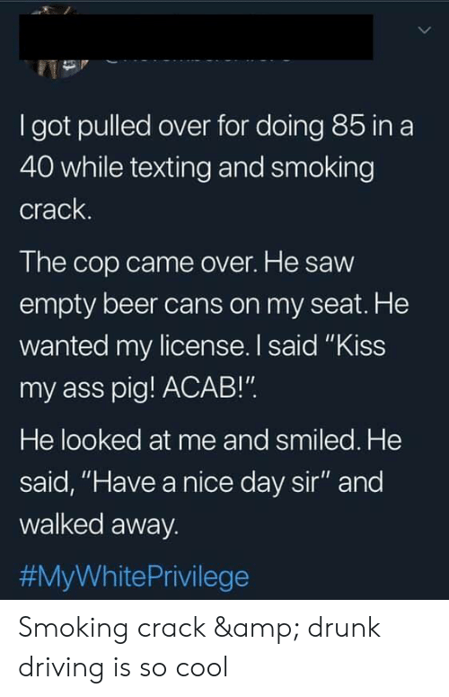 "Ass, Beer, and Driving: I got pulled over for doing 85 ina  40 while texting and smoking  crack.  The cop came over. He saw  empty beer cans on my seat. He  wanted my license. I said ""Kiss  my ass pig! ACAB!""  He looked at me and smiled. He  said, ""Have a nice day sir"" and  walked away.  #MyWhite Privilege Smoking crack & drunk driving is so cool"
