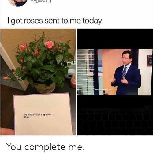 The Office, Office, and Today: I got roses sent to me today  You compiste me  Episode 11  The office Season 3  19:45 You complete me.