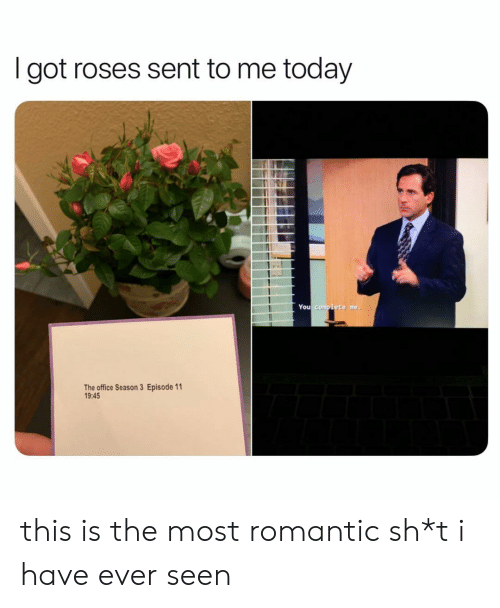 The Office, Office, and Today: I got roses sent to me today  You complete me,  The office Season 3 Episode 11  19:45 this is the most romantic sh*t i have ever seen