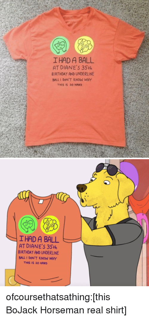 Birthday, Tumblr, and Blog: I HAD A BALL  AT DIANE'S 35+h  BIRTHDAY AND UNDERLINE  BALL I DON'T KNOW WHY  THIS IS S0 HARD   IHAD A BALL  AT DIANE'S 35th  BIRTHDAY AND UNDERLINE  BALL 1 DON'T KNOW WHY  THIS IS SO HARD ofcoursethatsathing:[this BoJack Horseman real shirt]