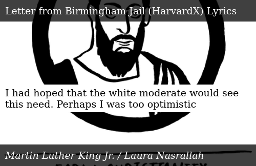 SIZZLE: I had hoped that the white moderate would see this need. Perhaps I was too optimistic