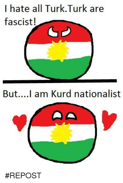 Memes, Turk, and 🤖: I hate all Turk.Turk are  fascist!  But... I am Kurd nationalist #REPOST