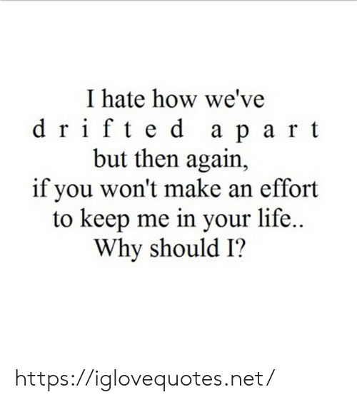 Life, How, and Net: I hate how we've  drifted apart  but then again,  if you won't make an effort  to keep me in your life...  Why should I? https://iglovequotes.net/