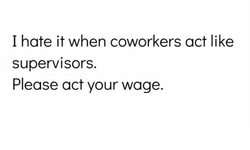 Memes, Coworkers, and 🤖: I hate it when coworkers act like  supervisorS.  Please act your wage.