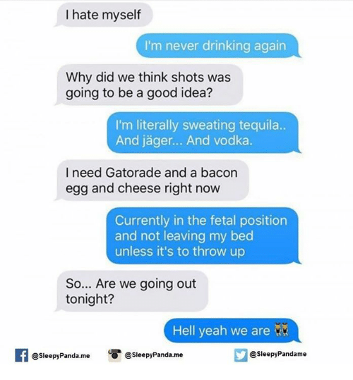Gatorade, Memes, and Panda: I hate myself  I'm never drinking again  Why did we think shots was  going to be a good idea?  I'm literally sweating tequila.  nd lager... And Vodka  I need Gatorade and a bacon  egg and cheese right now  Currently in the fetal position  and not leaving my bed  unless it's to throw up  So... Are we going out  tonight?  Hell yeah we are  Sleepy Pandame  @sleepy Panda. me  @Sleepy Panda me