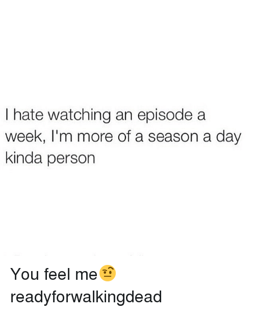 Funny, Day, and You: I hate watching an episode a  week, I'm more of a season a day  kinda person You feel me🤨 readyforwalkingdead