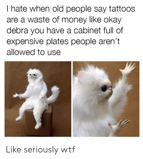 Money, Old People, and Reddit: I hate when old people say tattoos  are a waste of money like okay  debra you have a cabinet full of  expensive plates people aren't  allowed to use Like seriously wtf