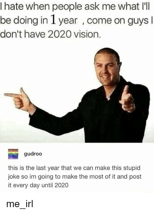 Vision, Irl, and Me IRL: I hate when people ask me what I'lI  be doing in 1 year , come on guys  don't have 2020 vision.  gudroo  this is the last year that we can make this stupid  joke so im going to make the most of it and post  it every day until 2020 me_irl