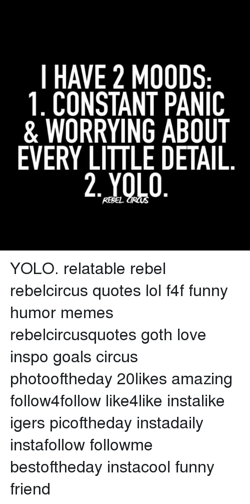 Funny Goals And Lol I Have  Constant Panic  C B Yolo Relatable Rebel Rebelcircus Quotes