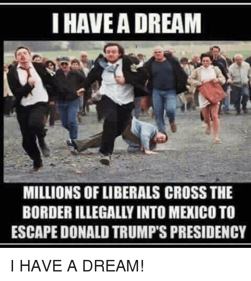 A Dream, Memes, and Cross: I HAVE A DREAM  MILLIONS OF LIBERALS CROSS THE  BORDER ILLEGALLY INTO MEXICO TO  ESCAPE DONALD TRUMP'S PRESIDENCY I HAVE A DREAM!