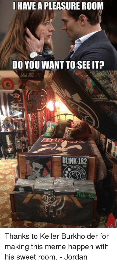 Meme, Jordan, and Blink 182: I HAVE A PLEASURE ROOM  DO YOU WANT TO SEE IT?  BLINK-182 Thanks to Keller Burkholder for making this meme happen with his sweet room. - Jordan