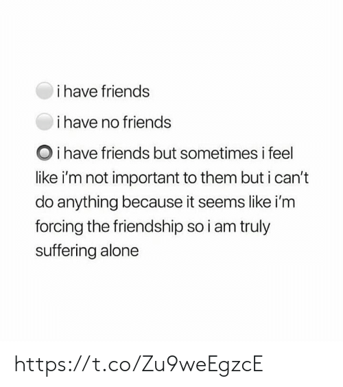 Being Alone, Friends, and Memes: i have friends  i have no friends  Oi have friends but sometimes i feel  like i'm not important to them but i can't  do anything because it seems like i'm  forcing the friendship so i am truly  suffering alone https://t.co/Zu9weEgzcE
