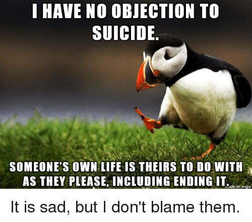 Life, Imgur, And Suicide: I HAVE NO OBJECTION TO SUICIDE. SOMEONEu0027S OWN